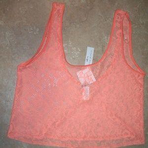 Love Squared Peachy Orange Lace Crop Top S